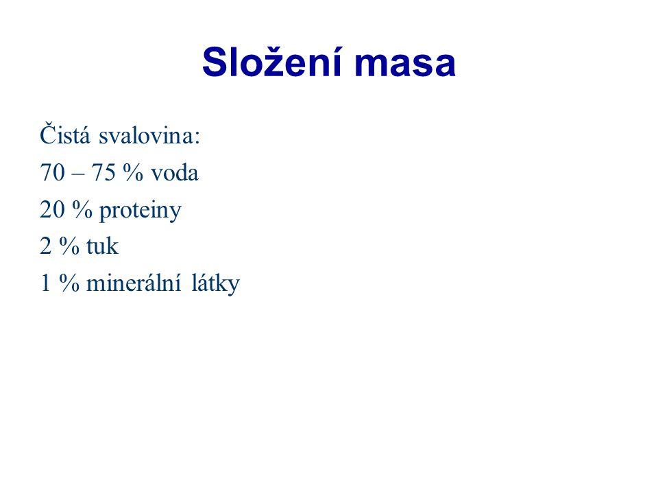 Složení masa Čistá svalovina: 70 – 75 % voda 20 % proteiny 2 % tuk 1 % minerální látky