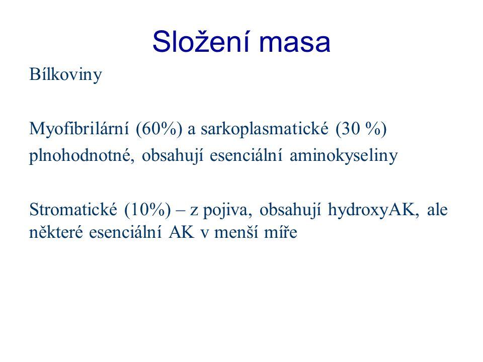 Složení masa Bílkoviny Myofibrilární (60%) a sarkoplasmatické (30 %) plnohodnotné, obsahují esenciální aminokyseliny Stromatické (10%) – z pojiva, obsahují hydroxyAK, ale některé esenciální AK v menší míře