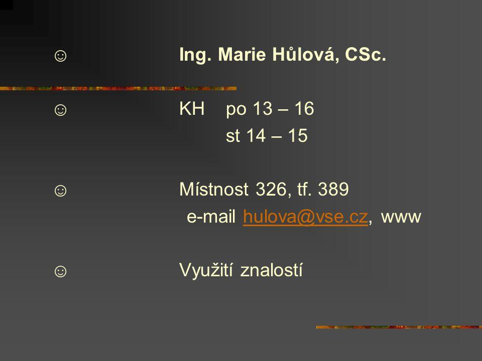 ☺ Ing. Marie Hůlová, CSc. ☺ KH po 13 – 16 st 14 – 15 ☺ Místnost 326, tf.