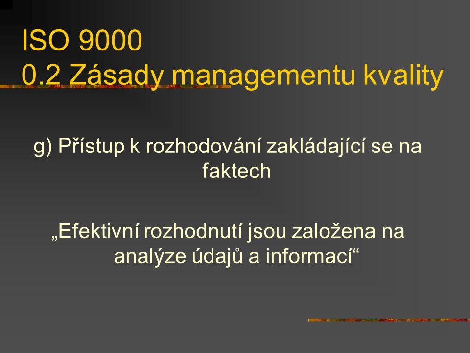 """ISO 9000 0.2 Zásady managementu kvality g) Přístup k rozhodování zakládající se na faktech """"Efektivní rozhodnutí jsou založena na analýze údajů a informací"""