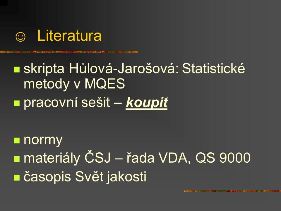 ☺ Literatura skripta Hůlová-Jarošová: Statistické metody v MQES pracovní sešit – koupit normy materiály ČSJ – řada VDA, QS 9000 časopis Svět jakosti