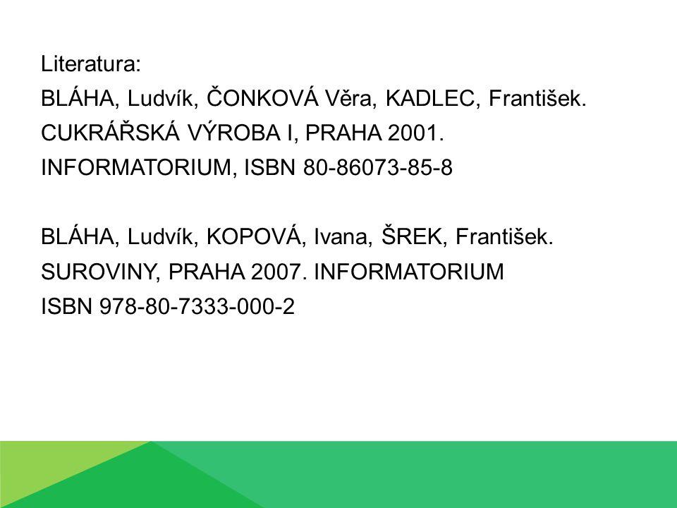 Literatura: BLÁHA, Ludvík, ČONKOVÁ Věra, KADLEC, František. CUKRÁŘSKÁ VÝROBA I, PRAHA 2001. INFORMATORIUM, ISBN 80-86073-85-8 BLÁHA, Ludvík, KOPOVÁ, I