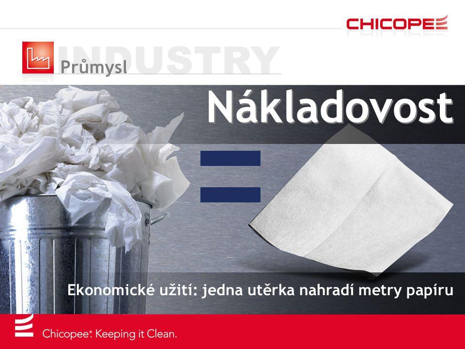 INDUSTRY Průmysl Nákladovost Ekonomické užití: jedna utěrka nahradí metry papíru