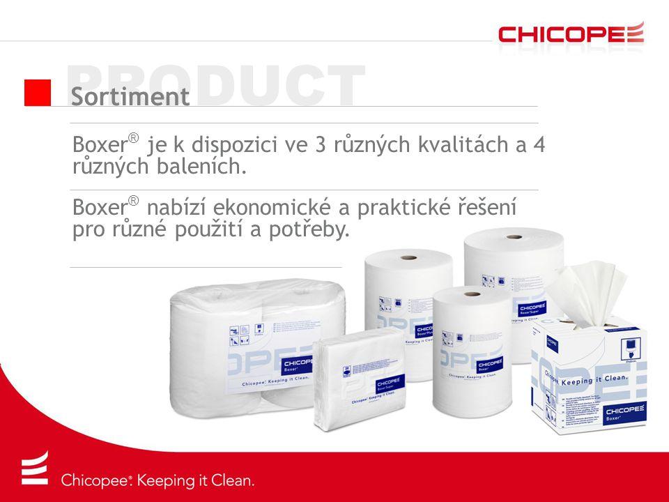 PRODUCT Sortiment Boxer ® je k dispozici ve 3 různých kvalitách a 4 různých baleních. Boxer ® nabízí ekonomické a praktické řešení pro různé použití a