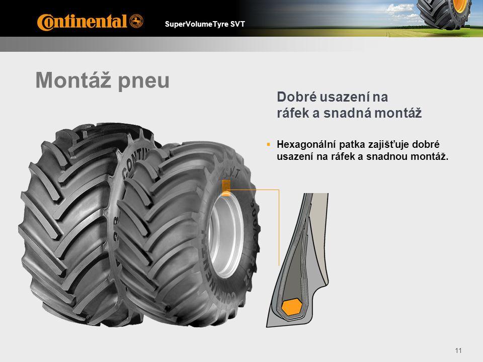 SuperVolumeTyre SVT 11 Montáž pneu  Hexagonální patka zajišťuje dobré usazení na ráfek a snadnou montáž.