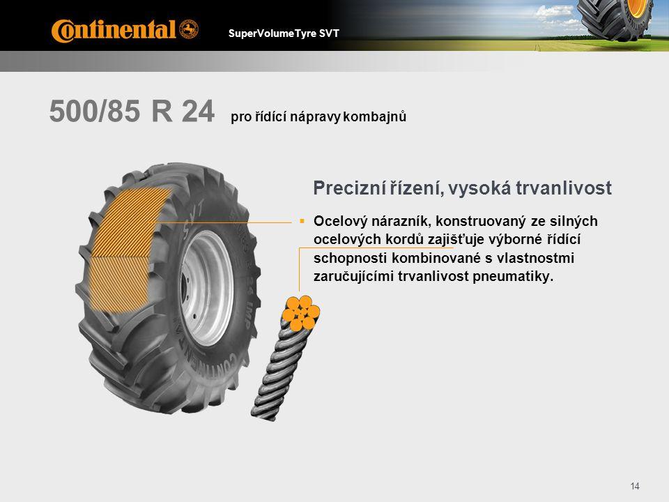 SuperVolumeTyre SVT 14 500/85 R 24  Ocelový nárazník, konstruovaný ze silných ocelových kordů zajišťuje výborné řídící schopnosti kombinované s vlastnostmi zaručujícími trvanlivost pneumatiky.