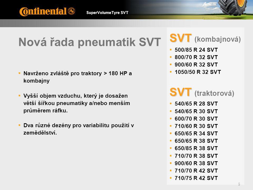 SuperVolumeTyre SVT 5 Nová řada pneumatik SVT  Navrženo zvláště pro traktory > 180 HP a kombajny  Vyšší objem vzduchu, který je dosažen větší šířkou pneumatiky a/nebo menším průměrem ráfku.
