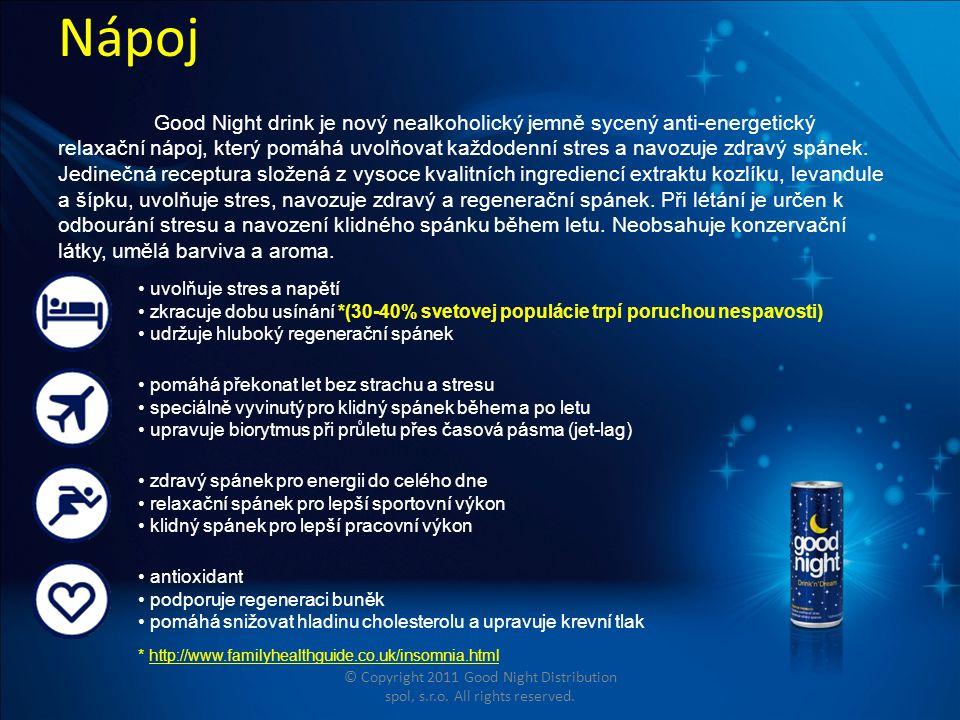 Nápoj Good Night drink je nový nealkoholický jemně sycený anti-energetický relaxační nápoj, který pomáhá uvolňovat každodenní stres a navozuje zdravý spánek.