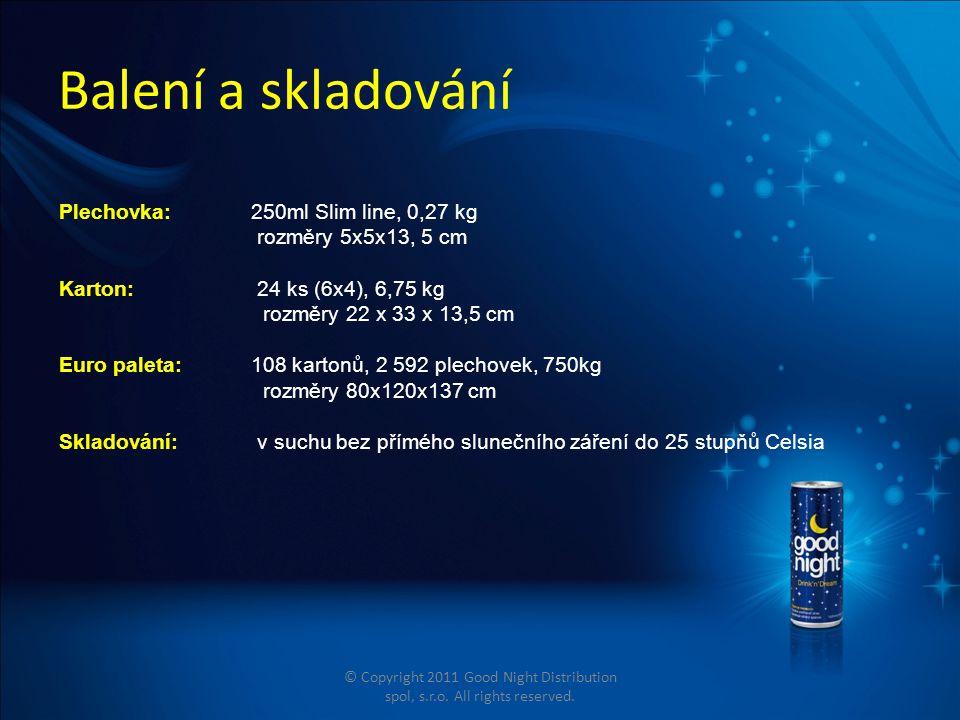 Balení a skladování Plechovka:250ml Slim line, 0,27 kg rozměry 5x5x13, 5 cm Karton: 24 ks (6x4), 6,75 kg rozměry 22 x 33 x 13,5 cm Euro paleta: 108 kartonů, 2 592 plechovek, 750kg rozměry 80x120x137 cm Skladování: v suchu bez přímého slunečního záření do 25 stupňů Celsia © Copyright 2011 Good Night Distribution spol, s.r.o.