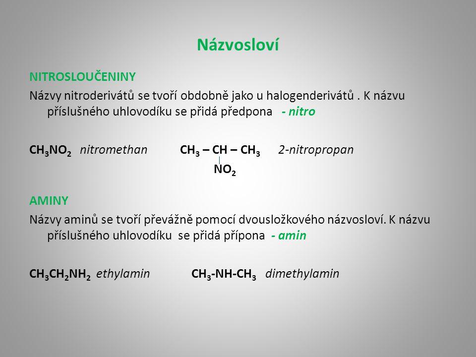 Vlastnosti, výskyt, využití Nitroderiváty jsou pevné nebo kapalné látky, většinou nemísitelné z vodou.