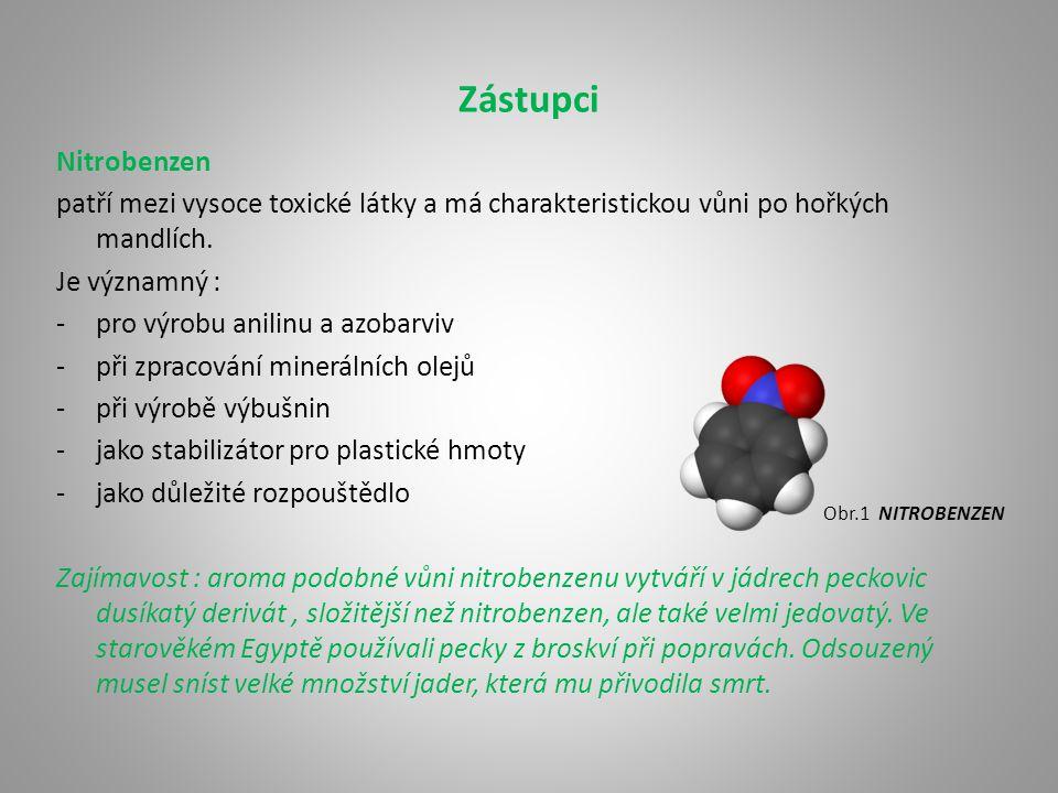 Zástupci Anilin je látka vysoce toxická, nebezpečná pro životní prostředí a zdraví škodlivá.