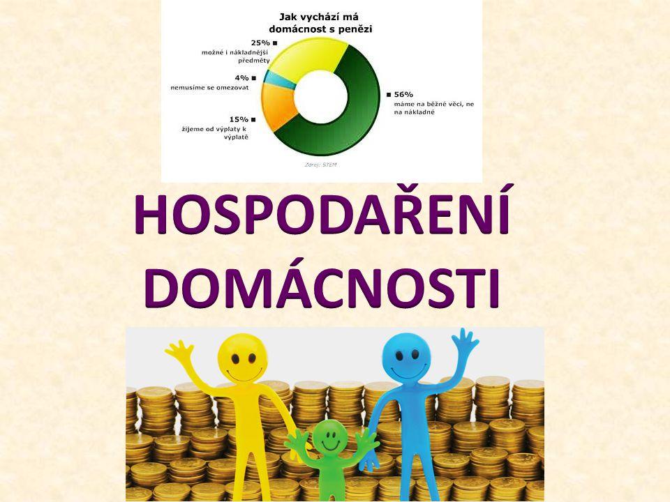 HOSPODAŘENÍ DOMÁCNOSTI Hospodaření domácnosti znamená především nakládání s penězi.