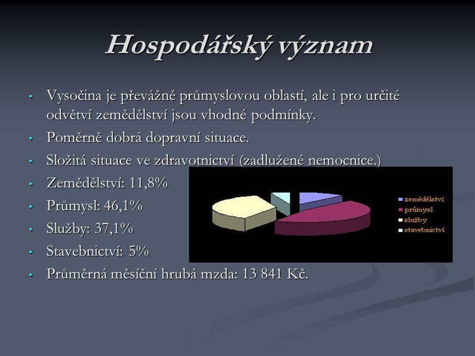 Hospodářský význam Vysočina je převážně průmyslovou oblastí, ale i pro určité odvětví zemědělství jsou vhodné podmínky. Vysočina je převážně průmyslov