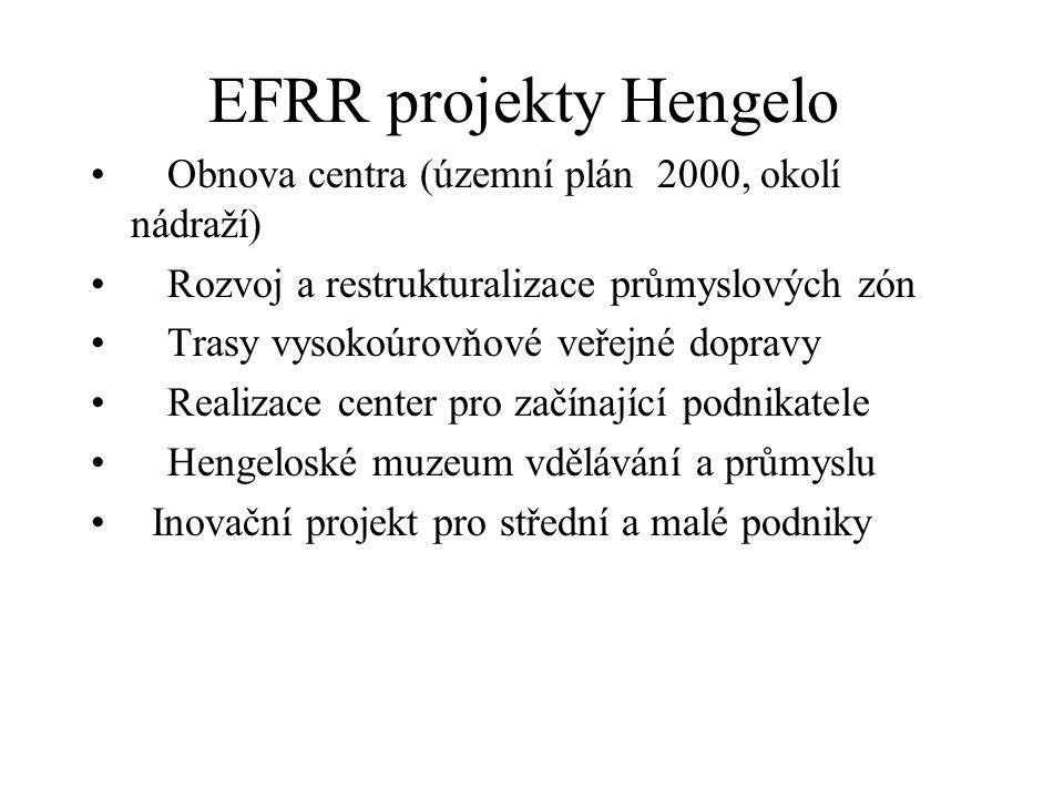 EFRR projekty Hengelo Obnova centra (územní plán 2000, okolí nádraží) Rozvoj a restrukturalizace průmyslových zón Trasy vysokoúrovňové veřejné dopravy Realizace center pro začínající podnikatele Hengeloské muzeum vdělávání a průmyslu Inovační projekt pro střední a malé podniky