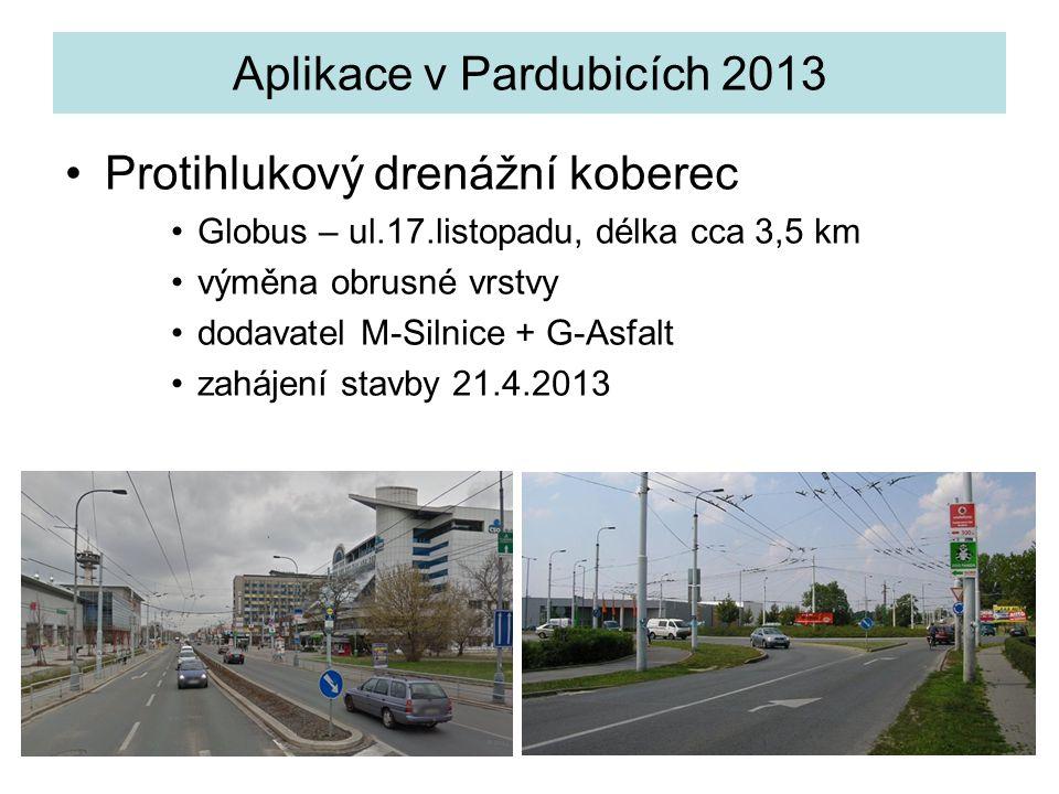 Aplikace v Pardubicích 2013 Protihlukový drenážní koberec Globus – ul.17.listopadu, délka cca 3,5 km výměna obrusné vrstvy dodavatel M-Silnice + G-Asf