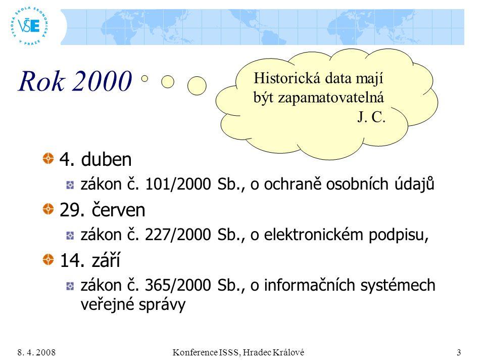 8. 4. 2008 Konference ISSS, Hradec Králové 3 Rok 2000 4. duben zákon č. 101/2000 Sb., o ochraně osobních údajů 29. červen zákon č. 227/2000 Sb., o ele