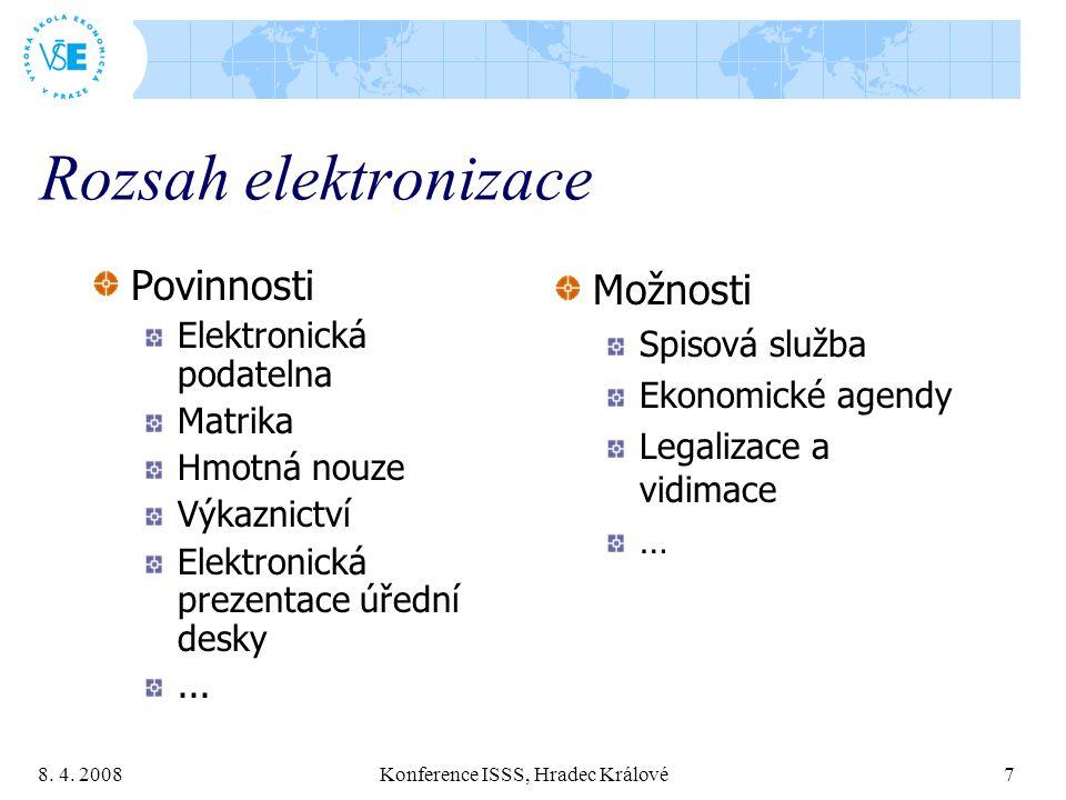 8. 4. 2008 Konference ISSS, Hradec Králové 7 Rozsah elektronizace Povinnosti Elektronická podatelna Matrika Hmotná nouze Výkaznictví Elektronická prez