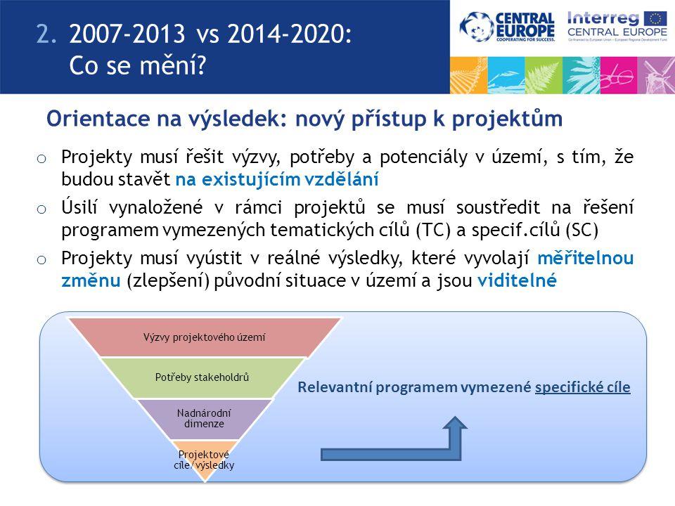 Orientace na výsledek: nový přístup k projektům o Projekty musí řešit výzvy, potřeby a potenciály v území, s tím, že budou stavět na existujícím vzdělání o Úsilí vynaložené v rámci projektů se musí soustředit na řešení programem vymezených tematických cílů (TC) a specif.cílů (SC) o Projekty musí vyústit v reálné výsledky, které vyvolají měřitelnou změnu (zlepšení) původní situace v území a jsou viditelné Relevantní programem vymezené specifické cíle Výzvy projektového území Potřeby stakeholdrů Nadnárodní dimenze Projektové cíle/výsledky 2.2007-2013 vs 2014-2020: Co se mění