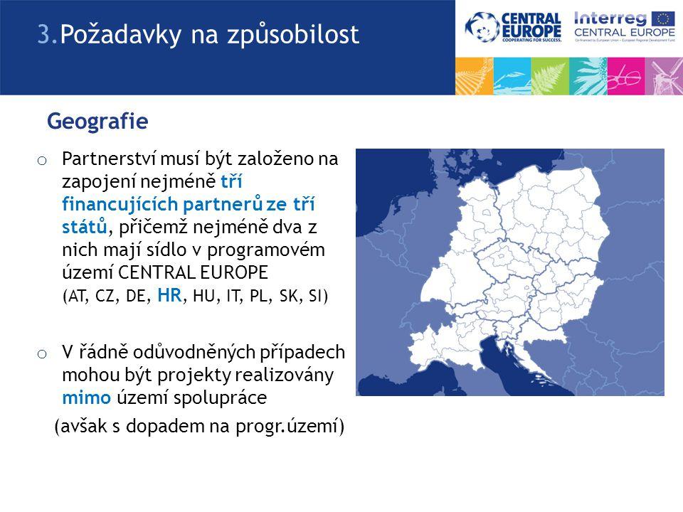 Způsobilí partneři a)Národní, regionální a místní veřejné subjekty (včetně EGTC – ESÚS – evropské seskupení pro územní spolupráci) b)Soukromé instituce, včetně soukromých společností, které mají právní subjektivitu c)Mezinárodní organizace fungující podle národních právních norem kteréhokoliv z členských států CENTRAL EUROPE, anebo s omezením podle mezinárodního práva 3.
