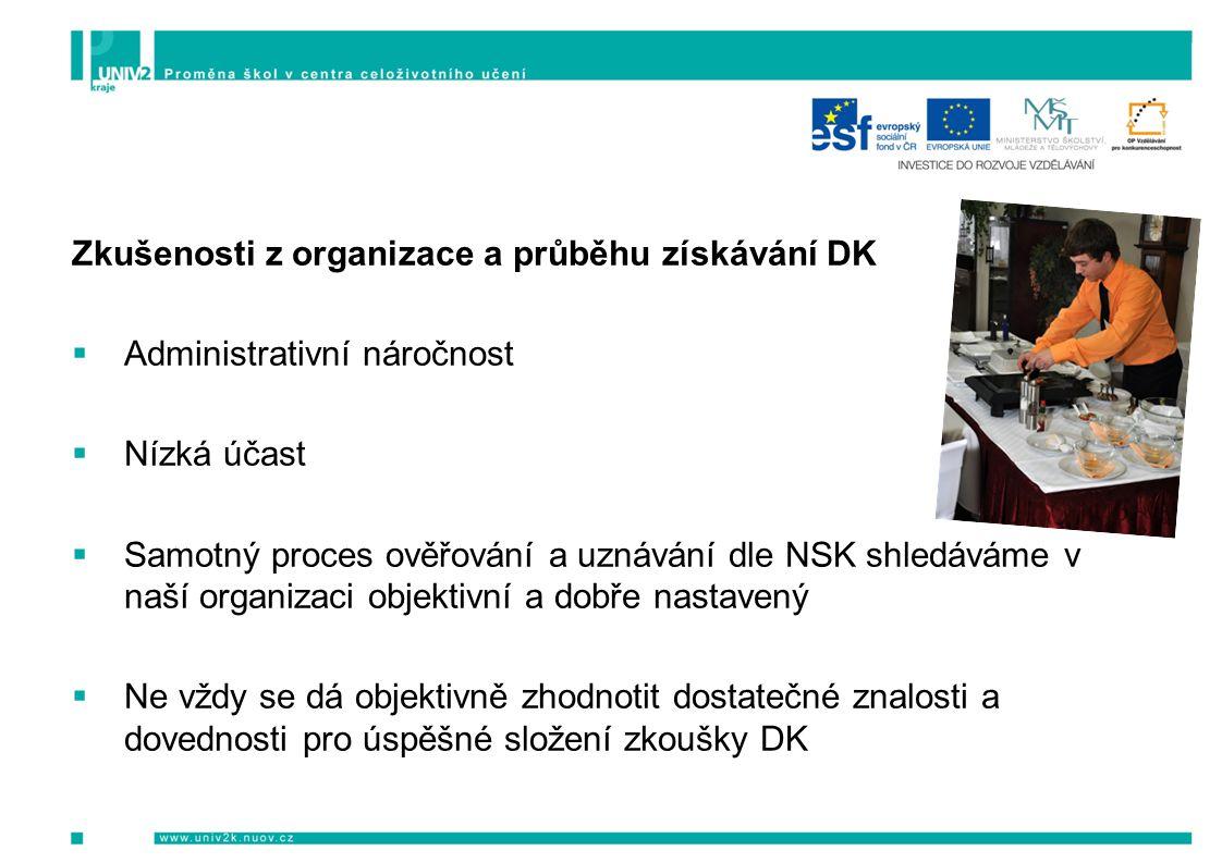 Zkušenosti z organizace a průběhu získávání DK  Administrativní náročnost  Nízká účast  Samotný proces ověřování a uznávání dle NSK shledáváme v naší organizaci objektivní a dobře nastavený  Ne vždy se dá objektivně zhodnotit dostatečné znalosti a dovednosti pro úspěšné složení zkoušky DK
