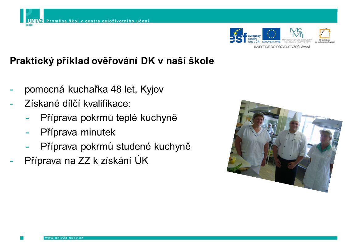 Praktický příklad ověřování DK v naší škole -pomocná kuchařka 48 let, Kyjov -Získané dílčí kvalifikace: -Příprava pokrmů teplé kuchyně -Příprava minutek -Příprava pokrmů studené kuchyně -Příprava na ZZ k získání ÚK