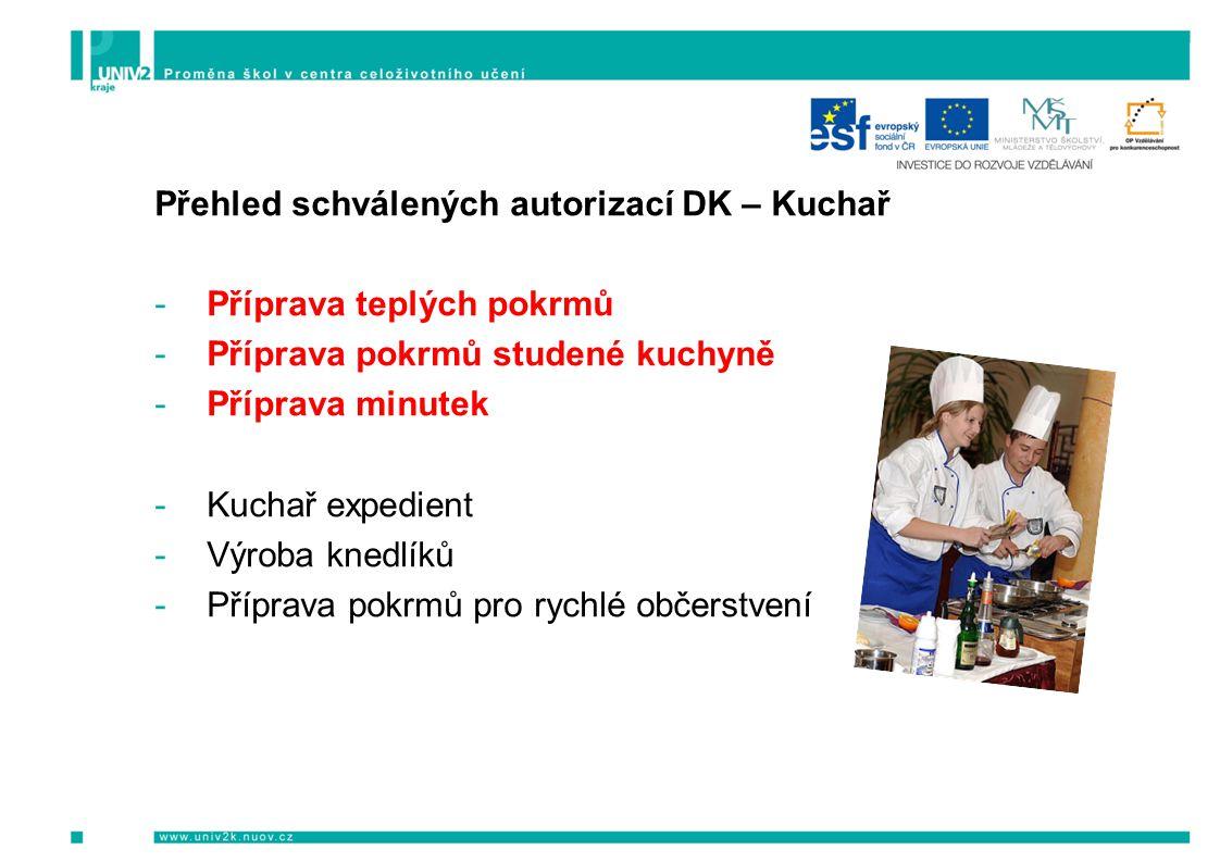 Přehled schválených autorizací DK – Kuchař -Příprava teplých pokrmů -Příprava pokrmů studené kuchyně -Příprava minutek -Kuchař expedient -Výroba knedlíků -Příprava pokrmů pro rychlé občerstvení