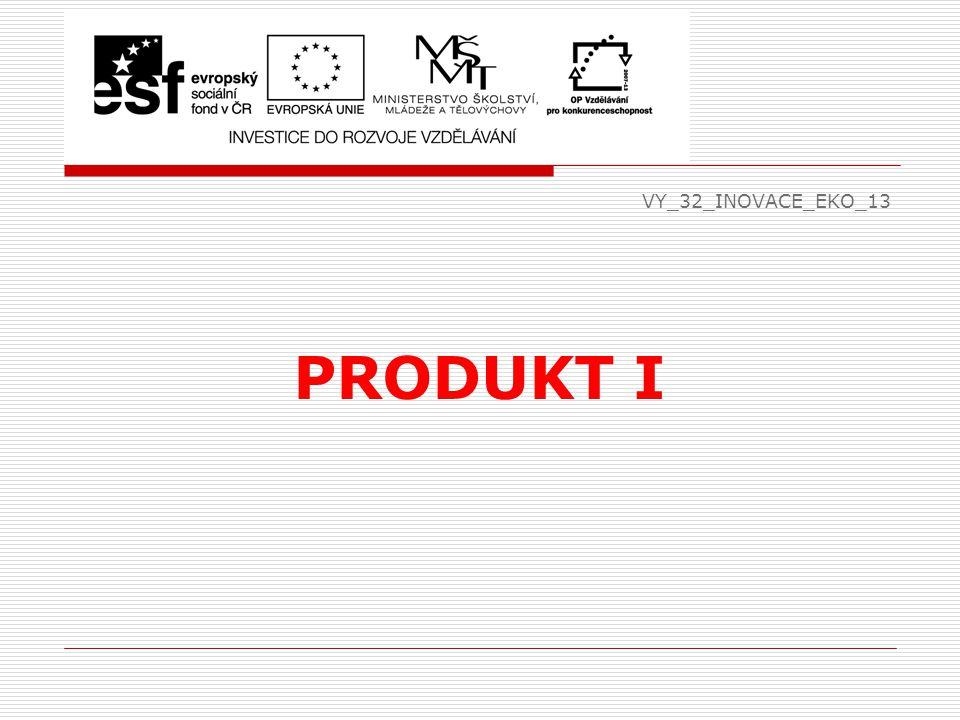 Rozdělení zboží v obchodní praxi  tvrdý sortiment  bílý sortiment (ledničky, koupelny, potřeby pro kuchyň)  hnědý sortiment (TV, audio, video, jízdní kola)  Identifikace zboží – čárový kód (EAN)  struktura – 3 čísla země původu (859), 4 čísla identifikují podnik, 5 čísel pro označení výrobku a 1 poslední je kontrolní  využití – identifikace zboží, evidence prodeje, objednávka zboží, fakturace zboží, kontrola zásob zboží, expedice, inventarizace zásob EKO VY_32_INOVACE_EKO_13