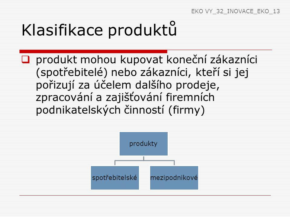 Klasifikace produktů  produkt mohou kupovat koneční zákazníci (spotřebitelé) nebo zákazníci, kteří si jej pořizují za účelem dalšího prodeje, zpracování a zajišťování firemních podnikatelských činností (firmy) produkty spotřebitelskémezipodnikové EKO VY_32_INOVACE_EKO_13