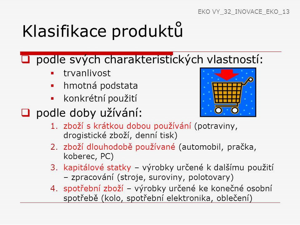 Klasifikace produktů  podle svých charakteristických vlastností:  trvanlivost  hmotná podstata  konkrétní použití  podle doby užívání: 1.zboží s krátkou dobou používání (potraviny, drogistické zboží, denní tisk) 2.zboží dlouhodobě používané (automobil, pračka, koberec, PC) 3.kapitálové statky – výrobky určené k dalšímu použití – zpracování (stroje, suroviny, polotovary) 4.spotřební zboží – výrobky určené ke konečné osobní spotřebě (kolo, spotřební elektronika, oblečení) EKO VY_32_INOVACE_EKO_13