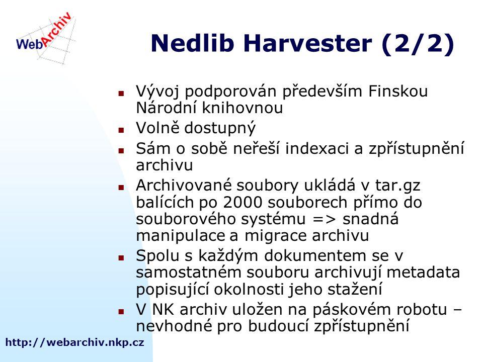 http://webarchiv.nkp.cz Nedlib Harvester (2/2) Vývoj podporován především Finskou Národní knihovnou Volně dostupný Sám o sobě neřeší indexaci a zpříst