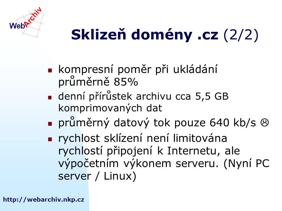 http://webarchiv.nkp.cz Sklizeň domény.cz (2/2) kompresní poměr při ukládání průměrně 85% denní přírůstek archivu cca 5,5 GB komprimovaných dat průměrný datový tok pouze 640 kb/s  rychlost sklízení není limitována rychlostí připojení k Internetu, ale výpočetním výkonem serveru.