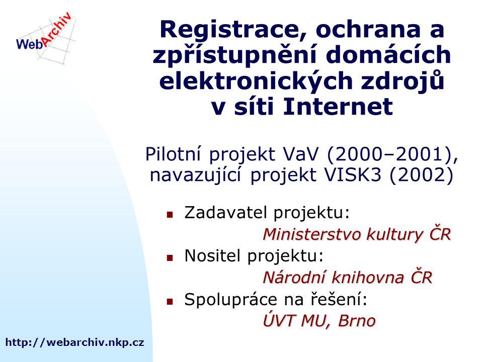 http://webarchiv.nkp.cz Registrace, ochrana a zpřístupnění domácích elektronických zdrojů v síti Internet Pilotní projekt VaV (2000–2001), navazující
