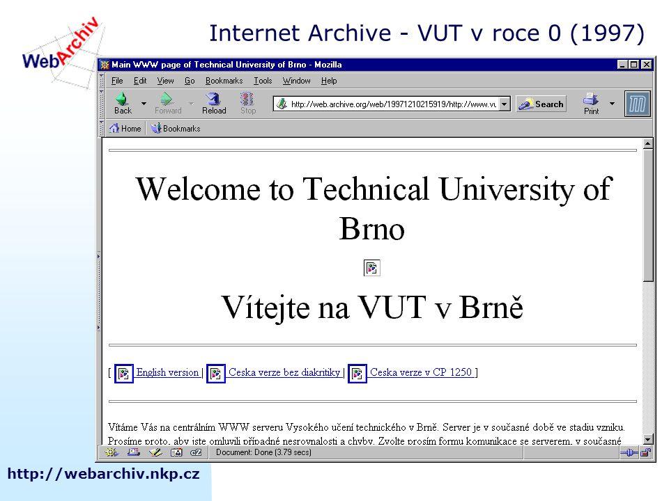 http://webarchiv.nkp.cz Internet Archive - VUT v roce 0 (1997)