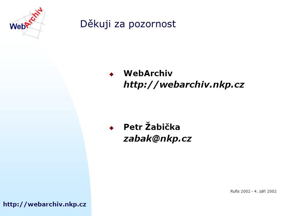 http://webarchiv.nkp.cz Děkuji za pozornost  WebArchiv http://webarchiv.nkp.cz  Petr Žabička zabak@nkp.cz Rufis 2002 - 4. září 2002