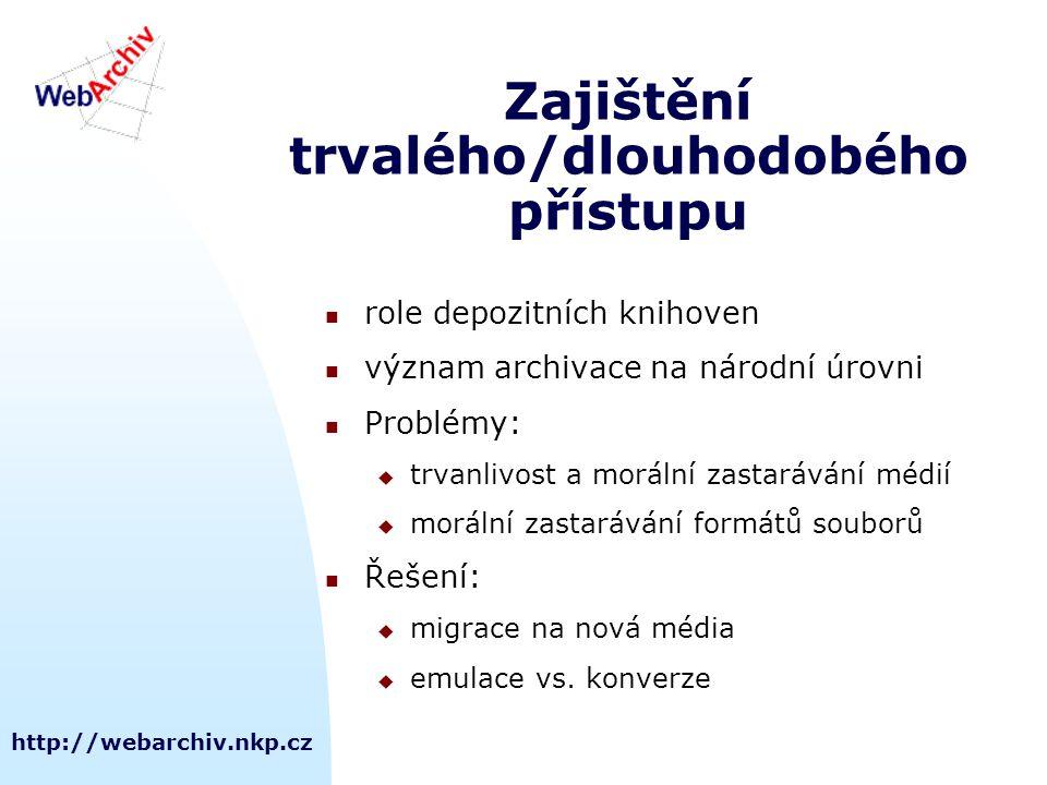http://webarchiv.nkp.cz Zajištění trvalého/dlouhodobého přístupu role depozitních knihoven význam archivace na národní úrovni Problémy:  trvanlivost