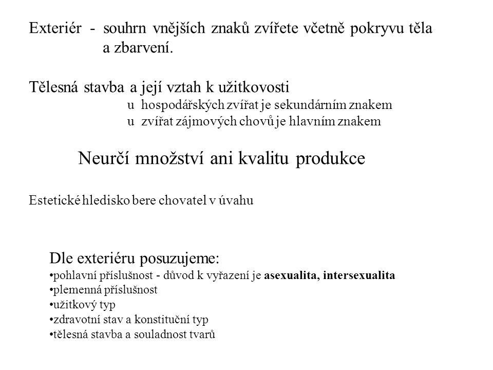 Metody posuzování exteriéru - subjektivní - objektivní Subjektivní : slovní popis zevnějšku bodový systém lineární popis Objektivní: měření tělesných rozměrů účel: - charakteristika změn tělesné stavby - sledování změn /růst/ - informace pro tvorbu životního prostředí zvířat Zjištování tělesné hmotnosti: vážení odhad měřením