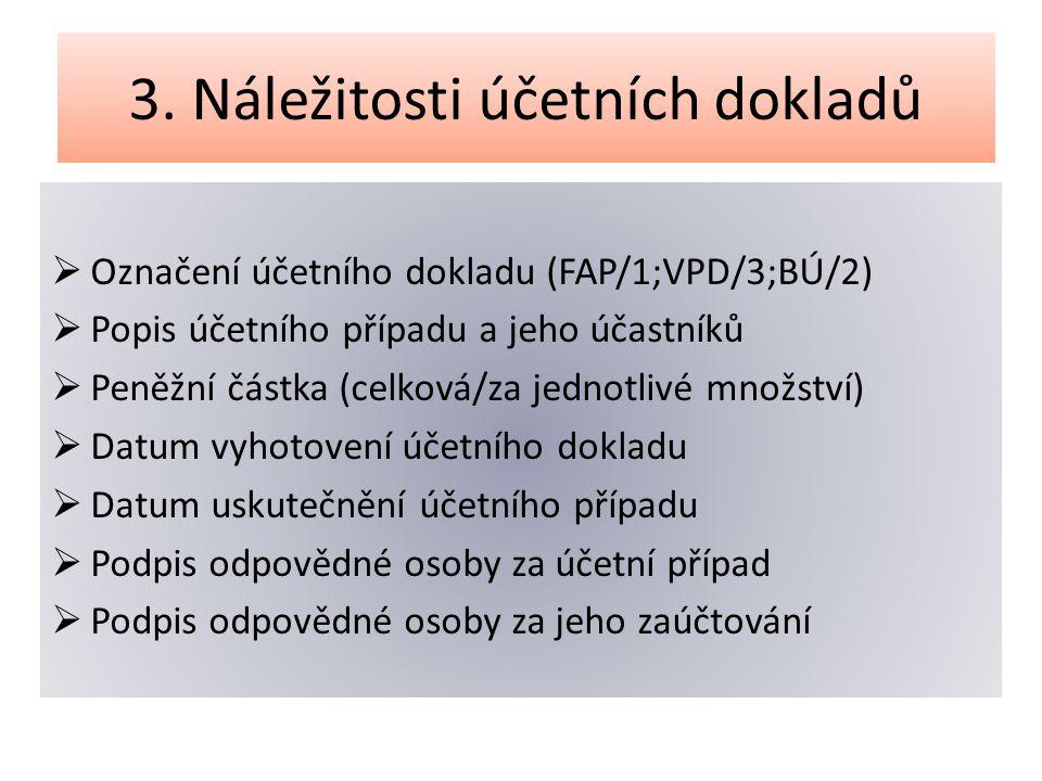 3. Náležitosti účetních dokladů  Označení účetního dokladu (FAP/1;VPD/3;BÚ/2)  Popis účetního případu a jeho účastníků  Peněžní částka (celková/za