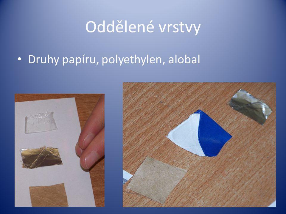 Oddělené vrstvy Druhy papíru, polyethylen, alobal