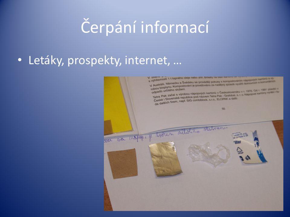 Čerpání informací Letáky, prospekty, internet, …