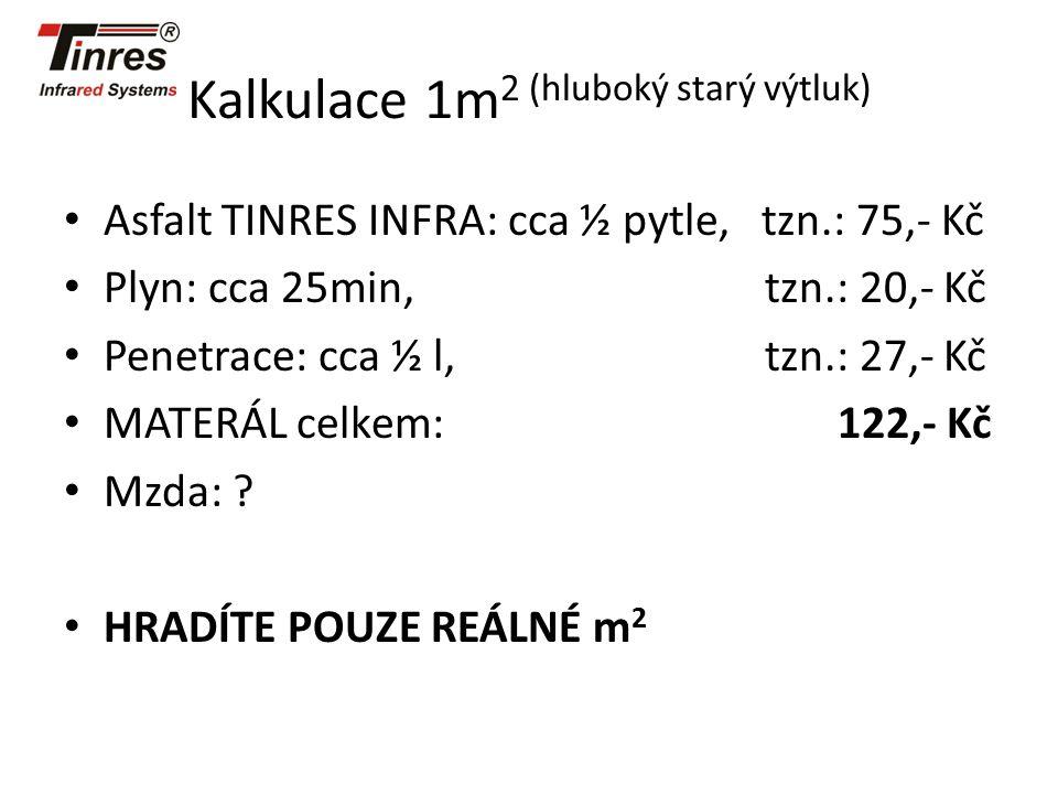 Kalkulace 1m 2 (hluboký starý výtluk) Asfalt TINRES INFRA: cca ½ pytle, tzn.: 75,- Kč Plyn: cca 25min, tzn.: 20,- Kč Penetrace: cca ½ l, tzn.: 27,- Kč