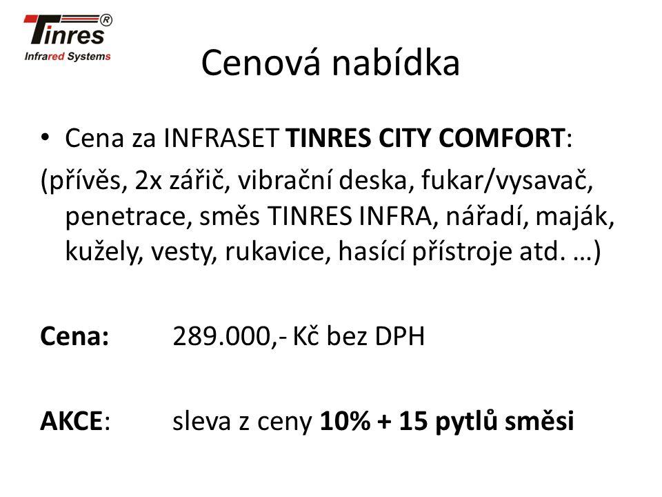 Cenová nabídka Cena za INFRASET TINRES CITY COMFORT: (přívěs, 2x zářič, vibrační deska, fukar/vysavač, penetrace, směs TINRES INFRA, nářadí, maják, ku