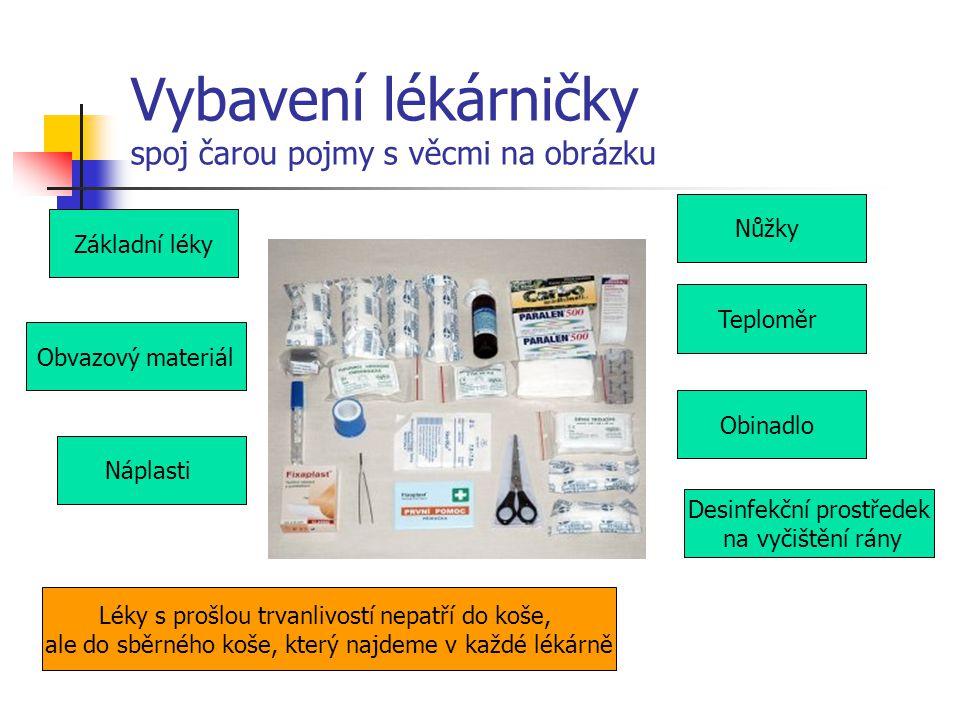 Vybavení lékárničky spoj čarou pojmy s věcmi na obrázku Obvazový materiál Základní léky Náplasti Desinfekční prostředek na vyčištění rány Obinadlo Tep