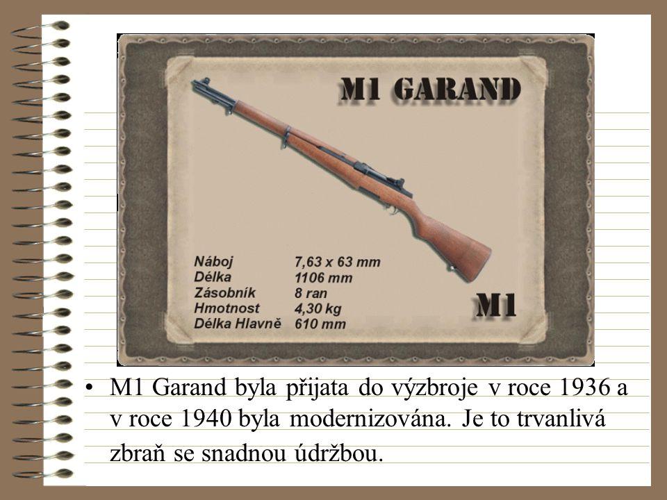 M1 Garand byla přijata do výzbroje v roce 1936 a v roce 1940 byla modernizována.