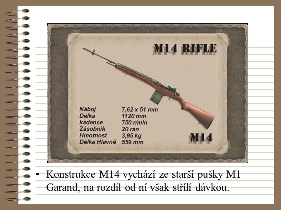 Konstrukce M14 vychází ze starší pušky M1 Garand, na rozdíl od ní však střílí dávkou.