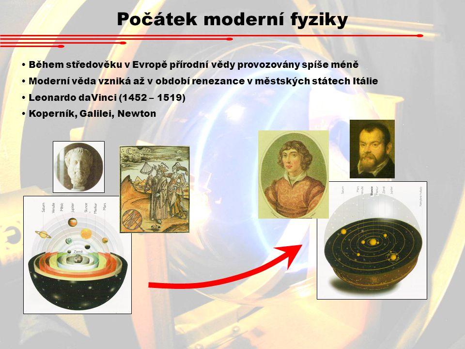 Počátek moderní fyziky Během středověku v Evropě přírodní vědy provozovány spíše méně Moderní věda vzniká až v období renezance v městských státech It