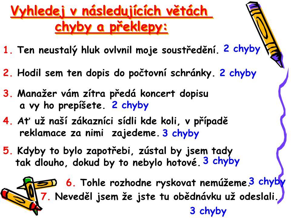 Vyhledej v následujících větách chyby a překlepy: Vyhledej v následujících větách chyby a překlepy: 1. Ten neustalý hluk ovlvnil moje soustředění. 2.