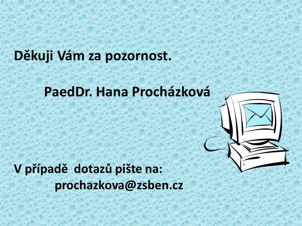 Děkuji Vám za pozornost. PaedDr. Hana Procházková V případě dotazů pište na: prochazkova@zsben.cz