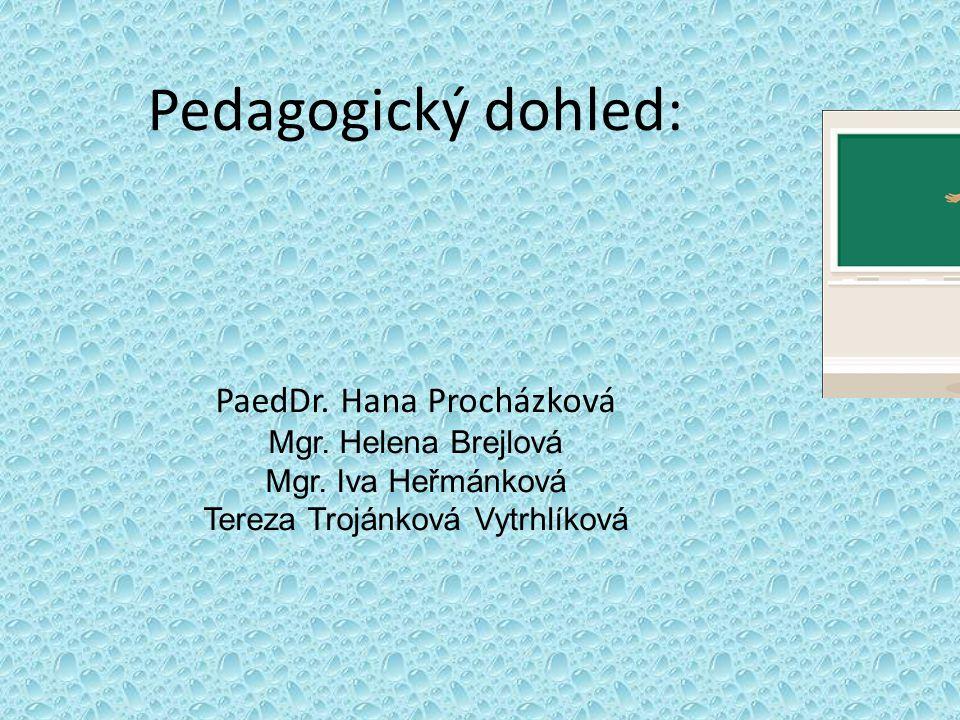 Pedagogický dohled: PaedDr. Hana Procházková Mgr. Helena Brejlová Mgr. Iva Heřmánková Tereza Trojánková Vytrhlíková