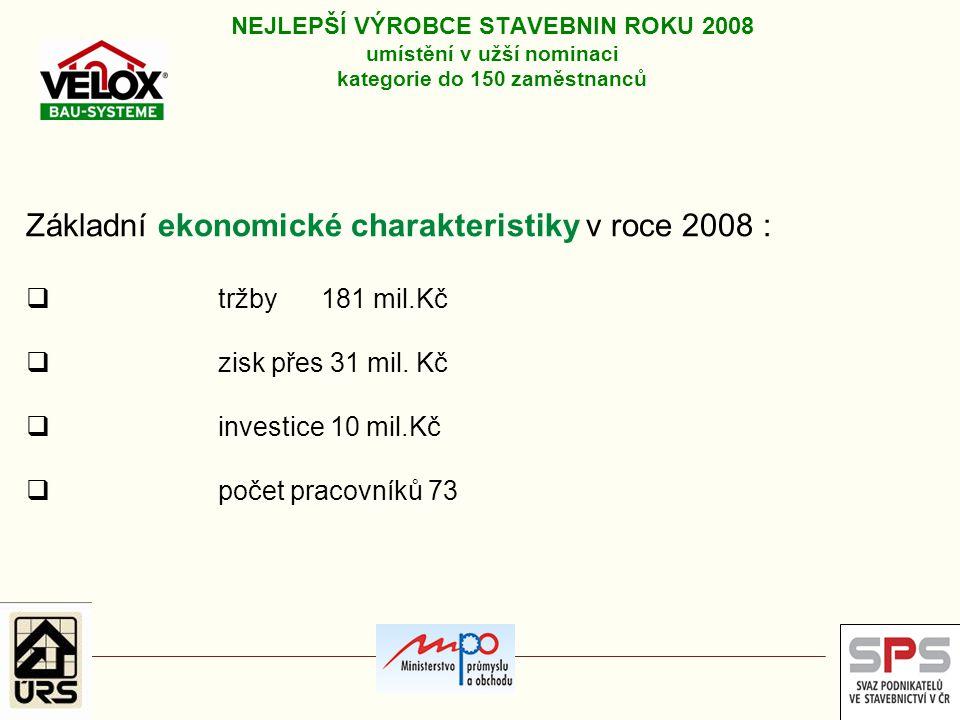 Základní ekonomické charakteristiky v roce 2008 :  tržby 181 mil.Kč  zisk přes 31 mil. Kč  investice 10 mil.Kč  počet pracovníků 73