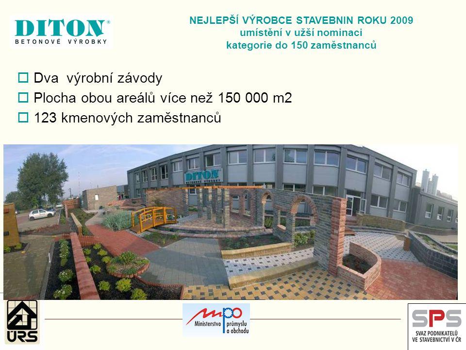  Dva výrobní závody  Plocha obou areálů více než 150 000 m2  123 kmenových zaměstnanců NEJLEPŠÍ VÝROBCE STAVEBNIN ROKU 2009 umístění v užší nominac